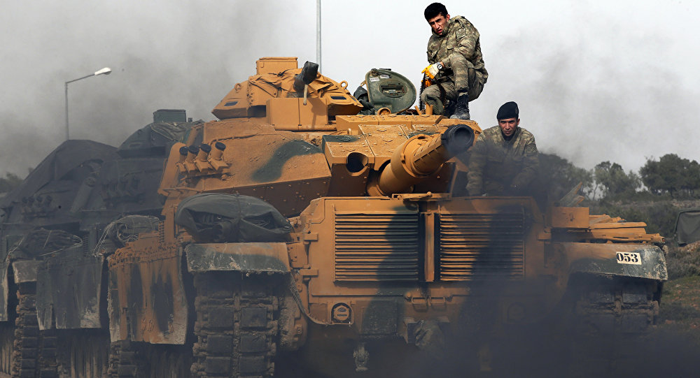 Tanques turcos na fronteira com a Síria, 22 de janeiro de 2018