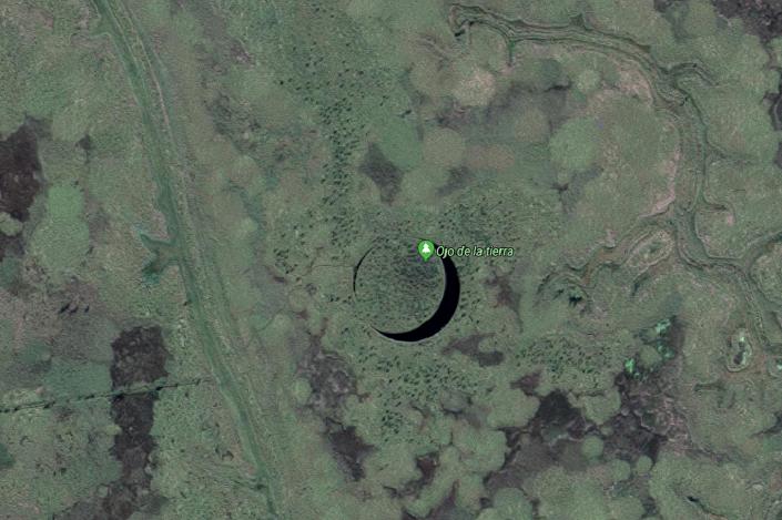 Imagem do Ojo de la Tierra feita do satélite, serviço Google Mapas