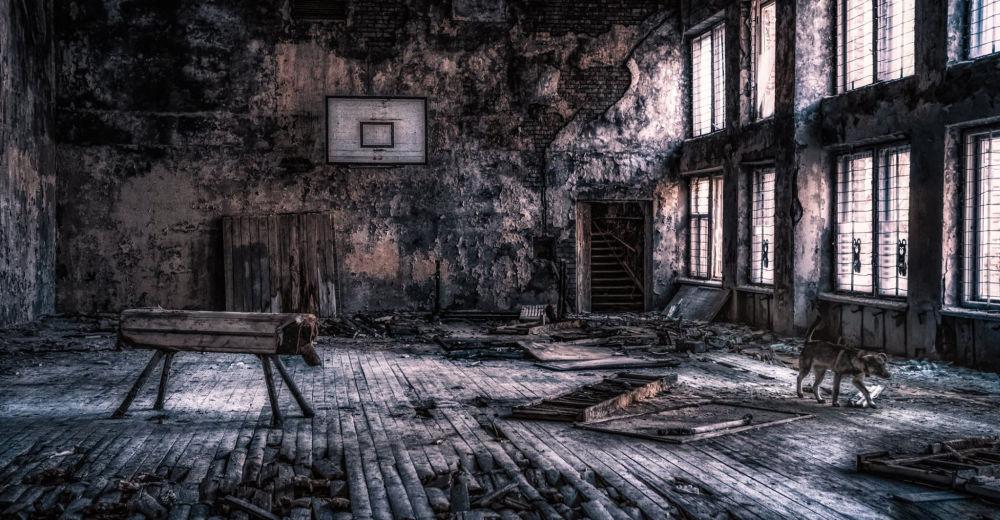 Quadra na escola em Pripyat