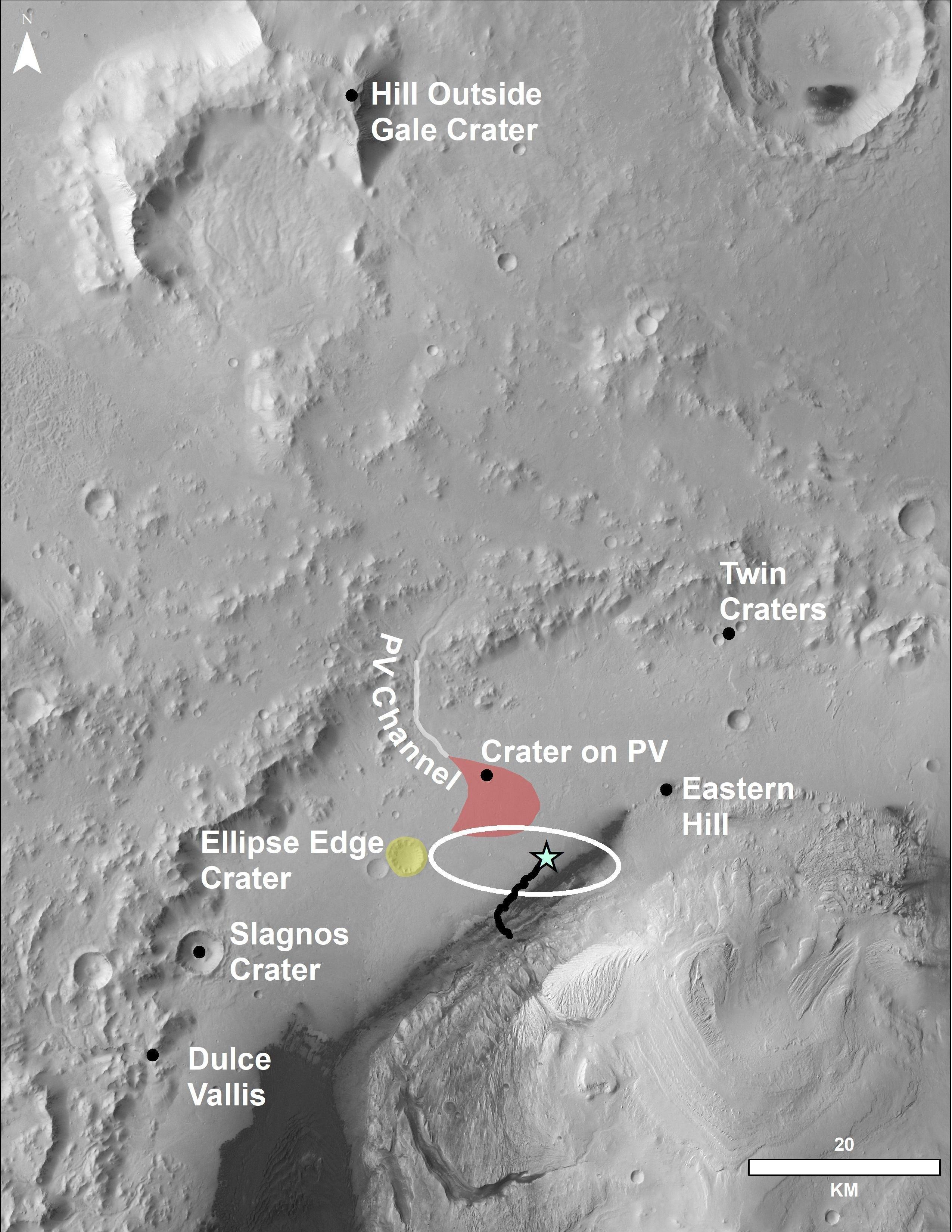 Esta foto aérea mostra a zona onde se encontra o rover Curiosity e seu percurso até agora. A cratera na parte superior da imagem fica a mais de 80 quilômetros do rover.