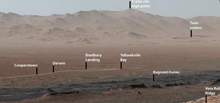 Esta foto mostra o sítio onde o rover Curiosity pousou em 2012. Também mostra a Baía de Yellowknife, onde o veículo encontrou o lugar de um antigo lago de água doce, que poderia ter tido todos os ingredientes químicos básicos para a vida microbiana.