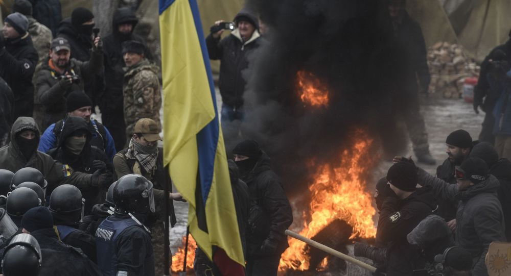 Apoiadores de Mikhail Saakashvili protestam em Kiev, foto de arquivo