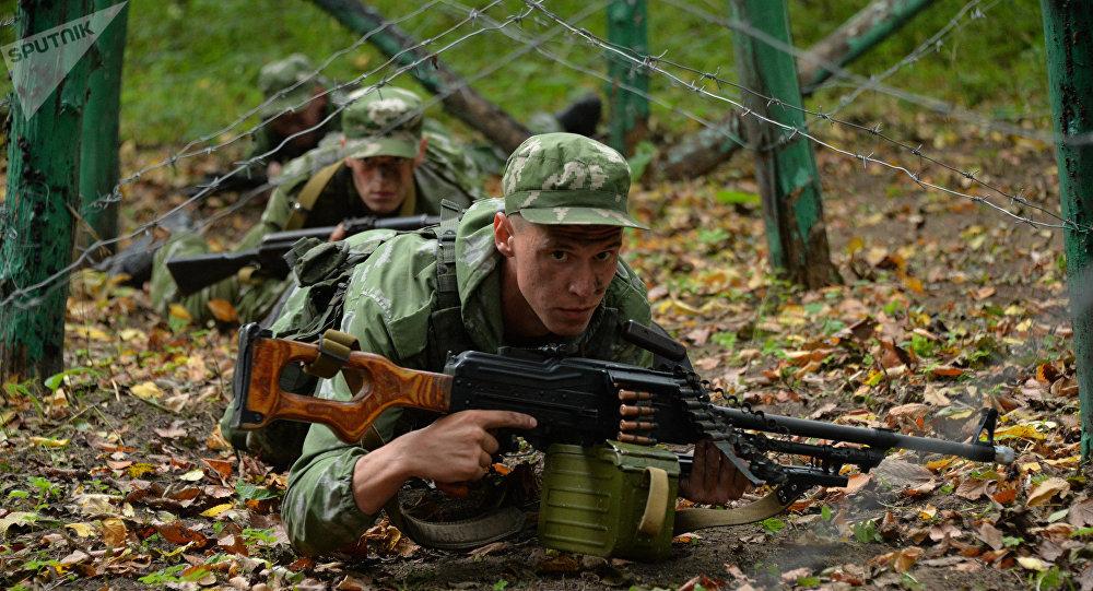 Agentes secretos das tropas russa durante os exercícios militares