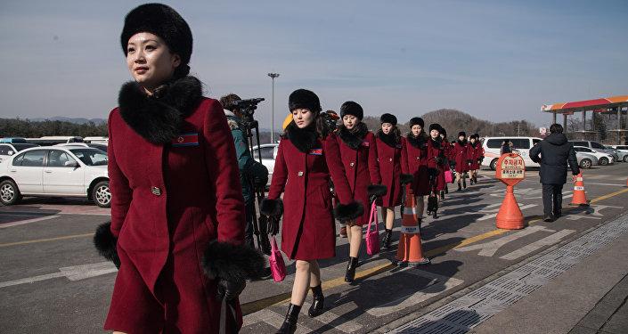 Líderes de torcida norte-coreanas