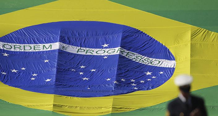 Bandeira do Brasil vista em 9 de junho de 2017 em Brasília