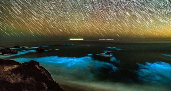 Fitoplâncton bioluminescente nas ondas ao longo da costa da região de Big Sur, no centro da Califórnia (imagem ilustrativa)