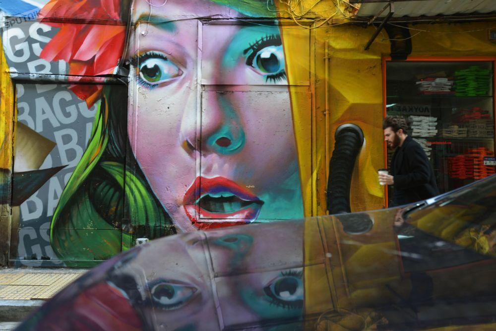 Grafíti em uma das ruas da capital grega, Atenas