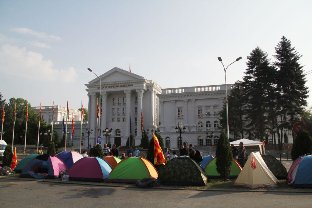 Uma ação antigovernamental na Macedônia.