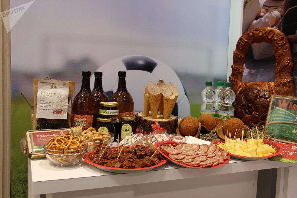 Comida tradicional da região de Vladimir apresentada no estande durante o Fórum de Investimentos da Rússia 2018, em Sochi