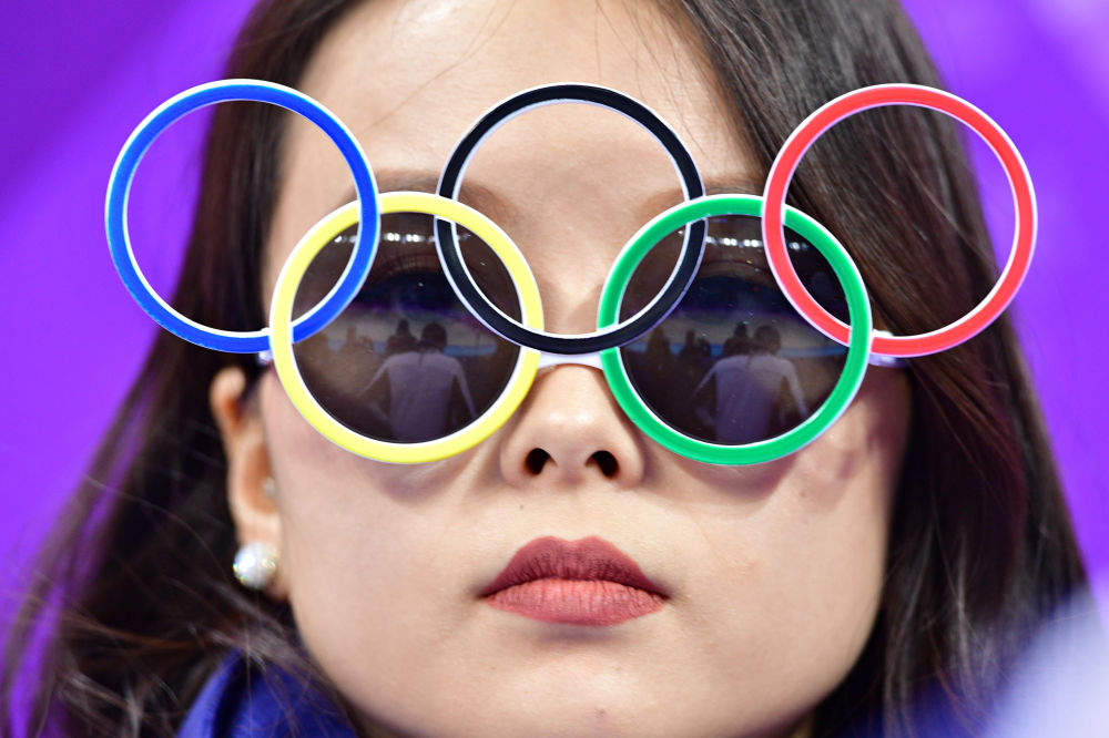 Torcedora nos Jogos Olímpicos de Inverno em Pyeongchang