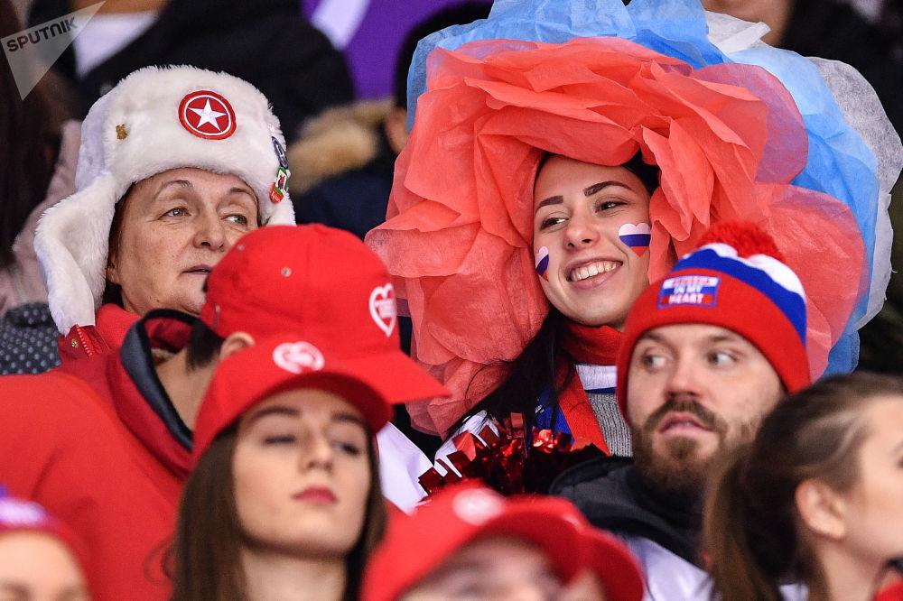 Torcida russa nos Jogos Olímpicos de Inverno em Pyeongchang