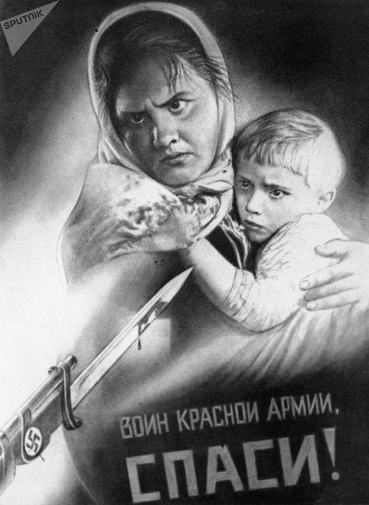 Reprodução do cartaz Guerreiro do Exército Vermelho, salve-nos! por Viktor Koretsky