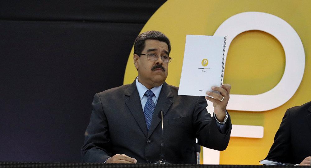 Nicolás Maduro, presidente da Venezuela, durante o lançamento do petro