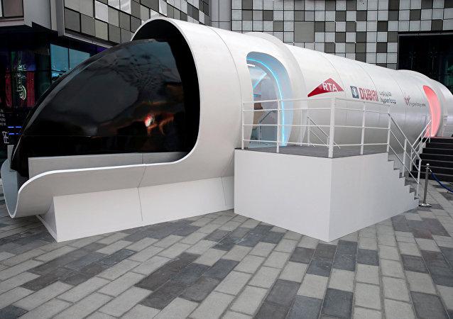 Autoridade de Transportes e Rodovias (RTA na sigla em inglês) revela desenho do trem Hyporloop em Dubai, EAU, 22 de fevereiro
