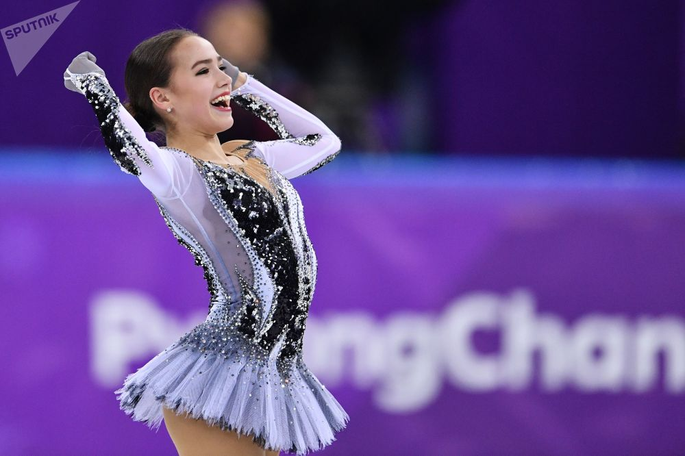 Atleta russa de patinação artística Alina Zagitova nas Olimpíadas de Inverno 2018 em PyeongChang