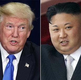 O presidente Donald Trump e líder norte-coreano Kim Jong Un
