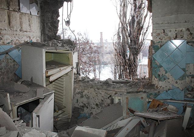 Donetsk após bombardeio
