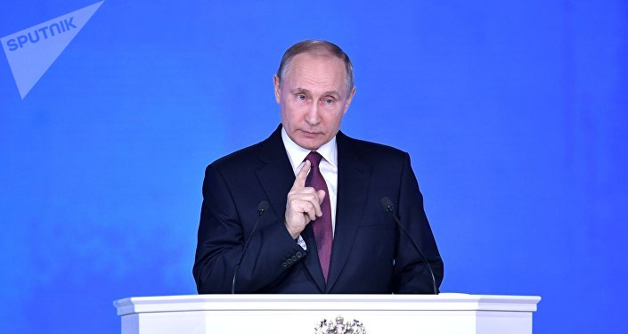 Vladimir Putin fala à Assembleia Federal da Rússia em 1 de março de 2018