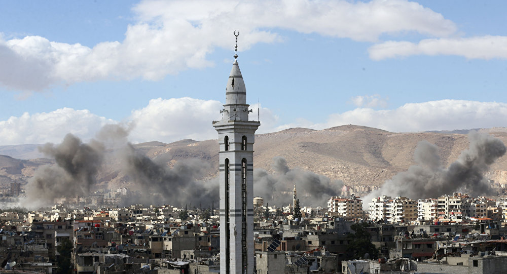 Fumaça em Ghouta Oriental, Síria (foto de arquivo)