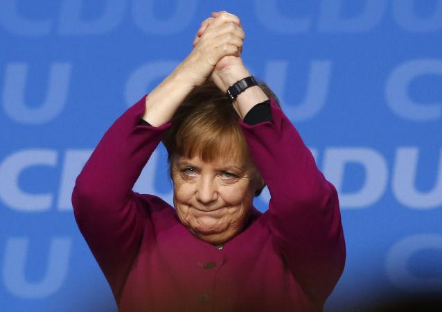 Chanceler alemã, Angela Merkel, durante o discurso no congresso do partido União Democrata-Cristã em Berlim