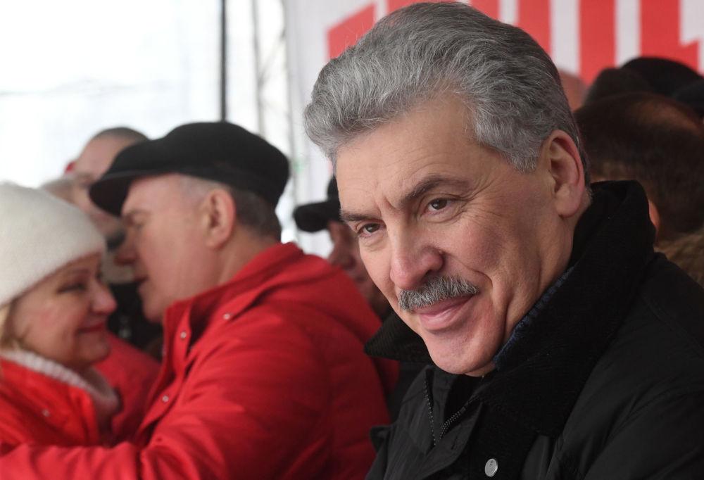 """Candidato à Presidência da Rússia pelo Partido Comunista, Pavel Grudinin, durante a ação """"Pela justiça social"""" em Moscou. A ação foi organizada pelo Partido Comunista e movimentos de esquerda russos"""