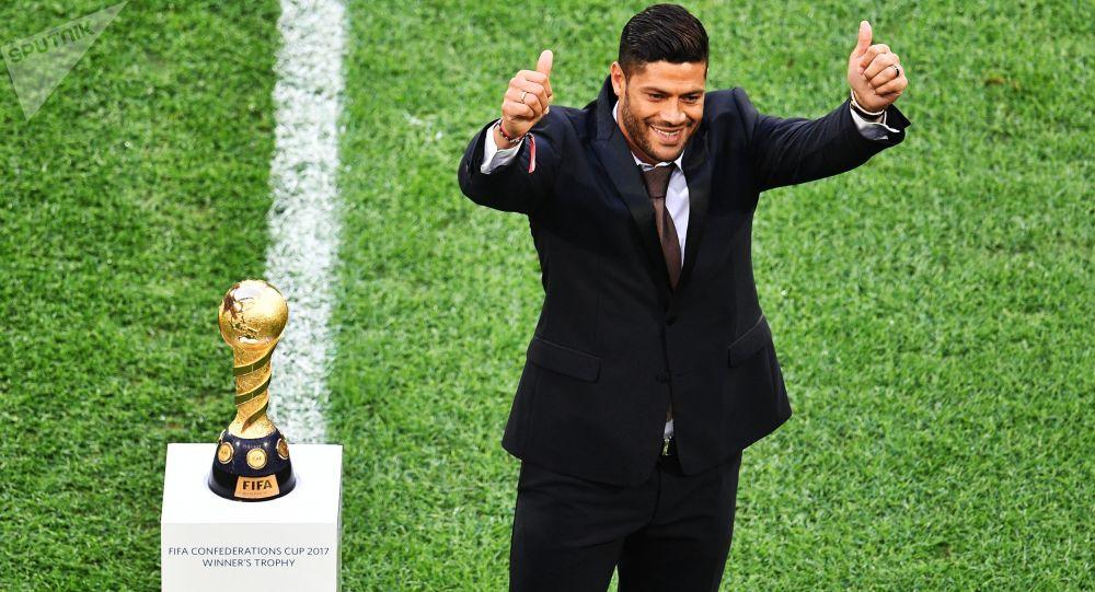 Hulk antes do início da partida final da Copa das Confederações 2017 entre o Chile e a Alemanha