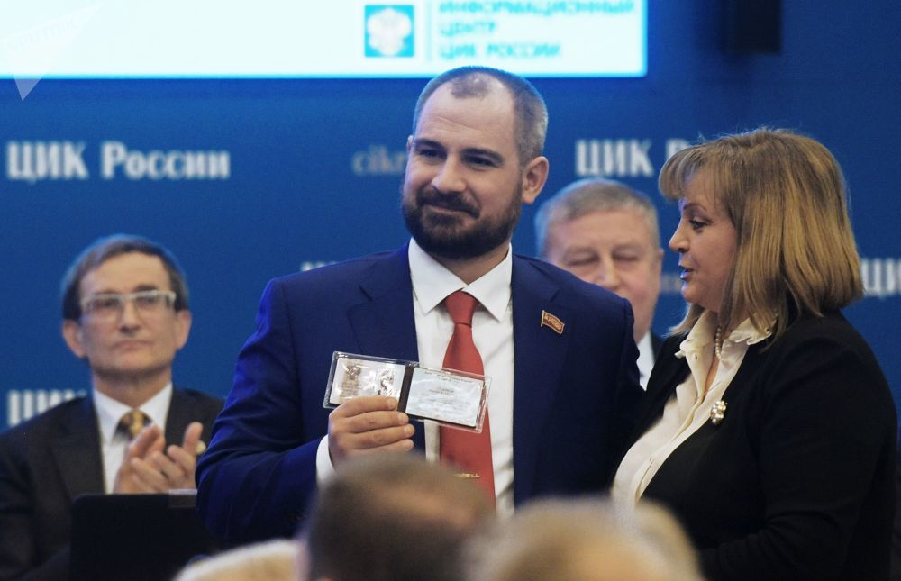 Líder do partido Comunistas da Rússia, Maksim Suraikin, depois de se registrar como candidato à Presidência da Rússia, 8 de fevereiro de 2017