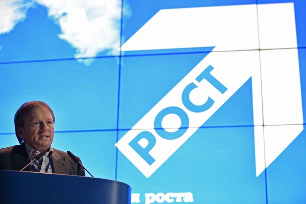 Presidente do partido Causa Justa e delegado da Presidência da Rússia para defesa dos direitos dos empresários, Boris Titov, participa do congresso do partido em Moscou, março de 2016