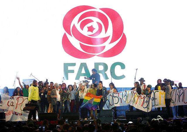 Ato da FARC em Bogotá.