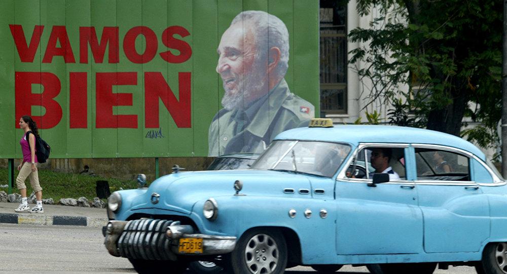 Cartaz de Fidel Castro em Havana, Cuba, em 2005.