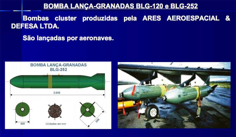 Um dos modelos de bomba de fragmentação (cluster) já fabricadas pela indústria brasileira