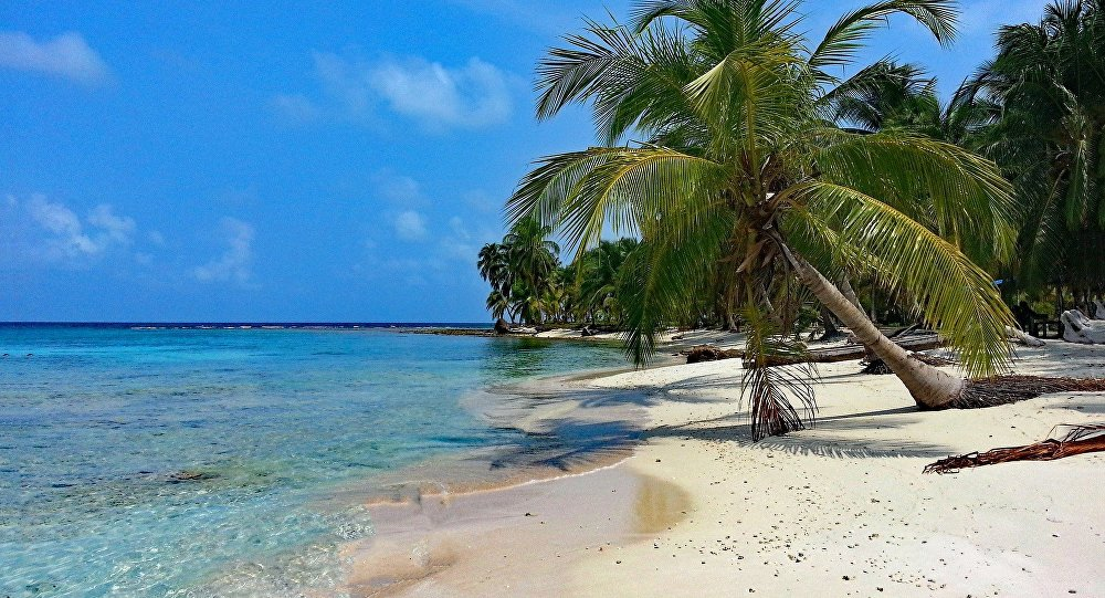 Uma ilha no mar do Caribe