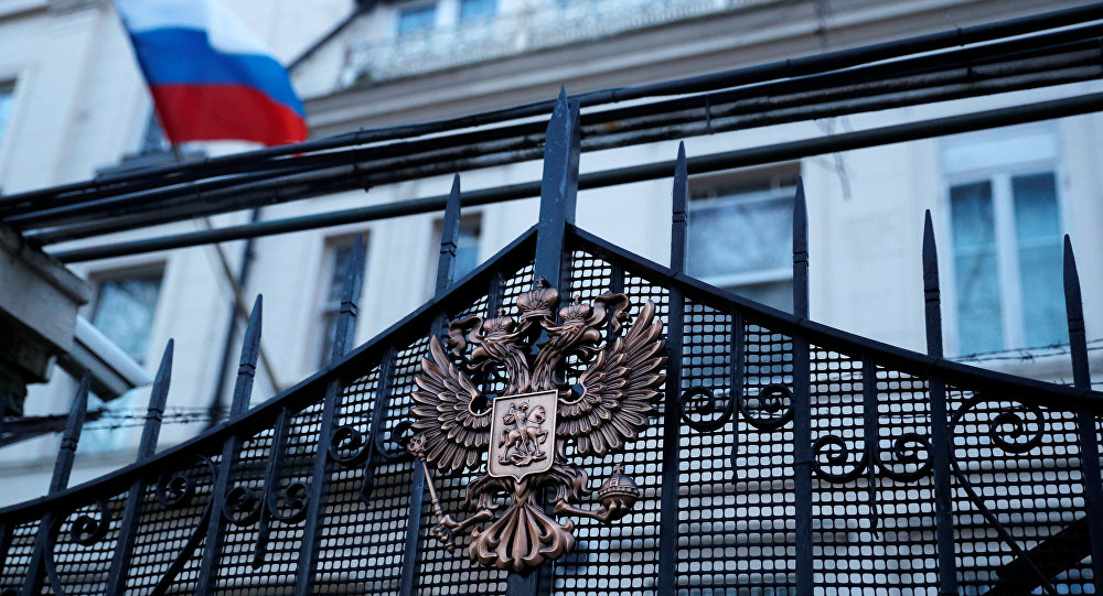 Embaixada da Rússia em Londres, Reino Unido, em 14 de março de 2018