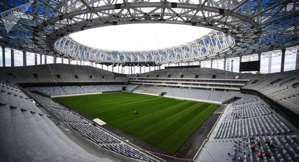 Construção do estádio Nizhny Novgorod, na Rússia