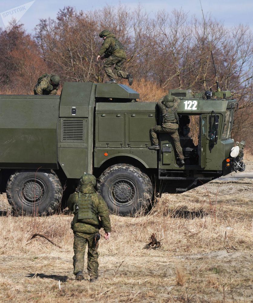 Exercícios das unidades de defesa costeira da Frota do Mar Báltico com sistemas Bastion em um polígono na região russa de Kaliningrado
