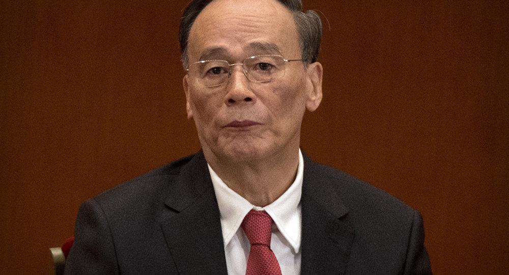 Wang Qishan, novo vice presidente da China, em uma durante o 19º Congresso do Partido Comunista chinês, em 2017.