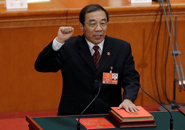 Recém eleito chefe da Comissão Nacional de Supervisão da China, Yang Xiaodu. A comissão tem como papel principal o combate à corrupção.