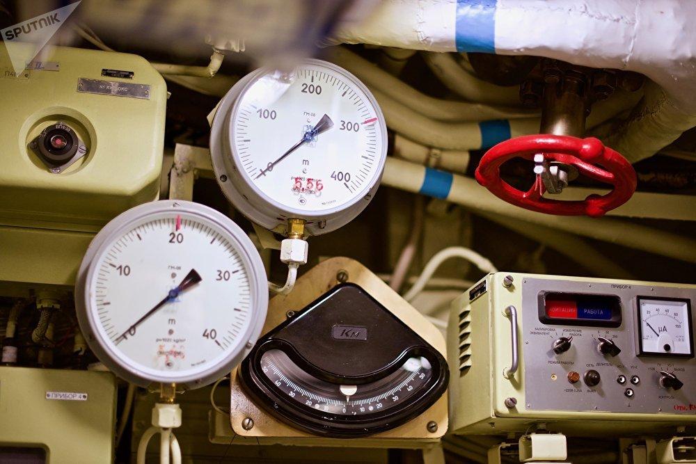 Este é o medidor de profundidade do submarino russo
