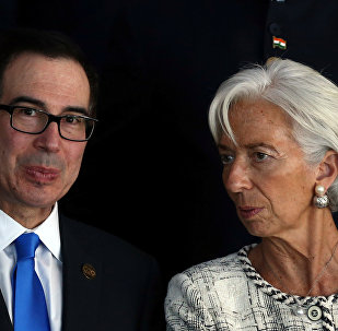 Secretário do Tesouro dos EUA, Steven Mnuchine, e a diretora-gerente do FMI Christine Lagarde, durante a Cúpula do G20, Buenos Aires