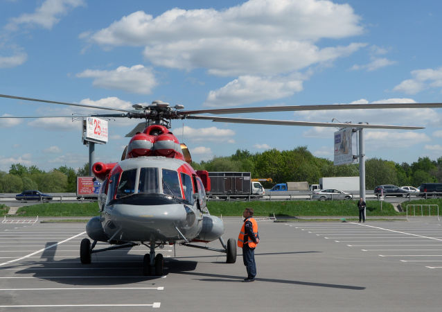 Helicóptero Mi-171 E (Mi-8 AMT), da Helicópteros da Rússia, em exposição durante evento na cidade de Moscou (arquivo)