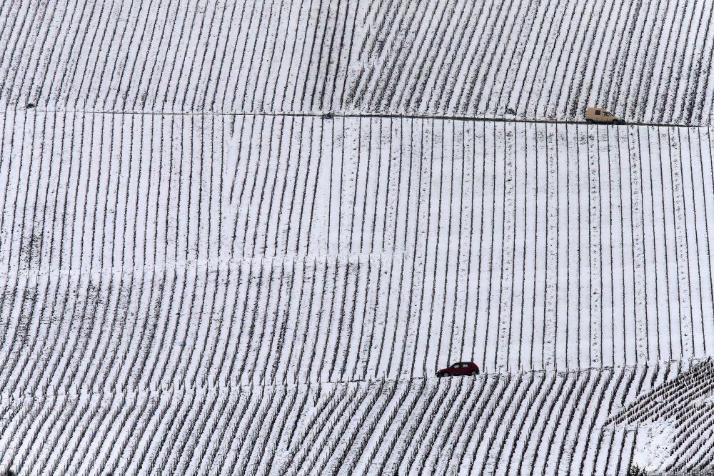 Um carro passa pelos vinhedos cobertos de neve na região de Champagne.