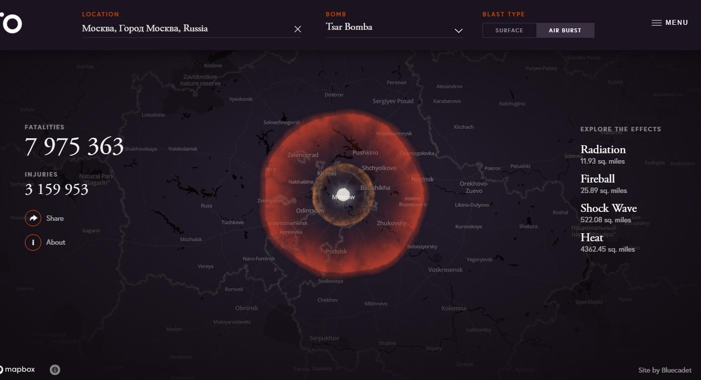 Simulador interativo de uma explosão nuclear