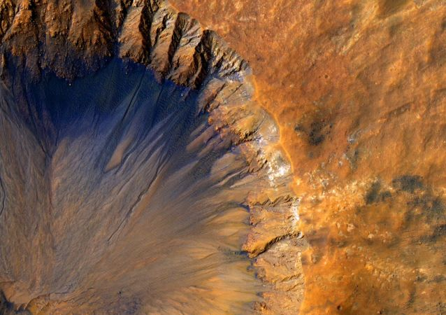 Cratera na superfície de Marte