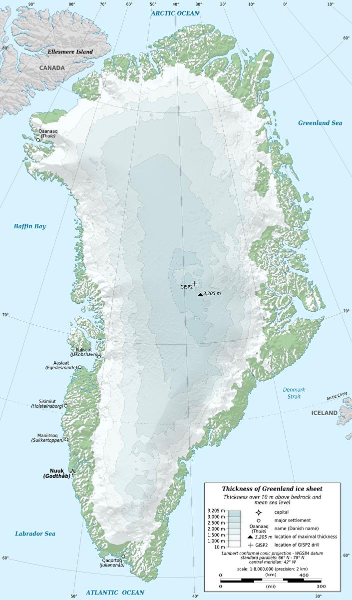 Mapa físico da Groenlândia em que se observa o nível de degelo da costa
