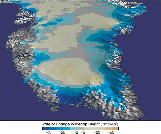 Mudanças no nível das calotas de gelo da Groenlândia (cm/ano)