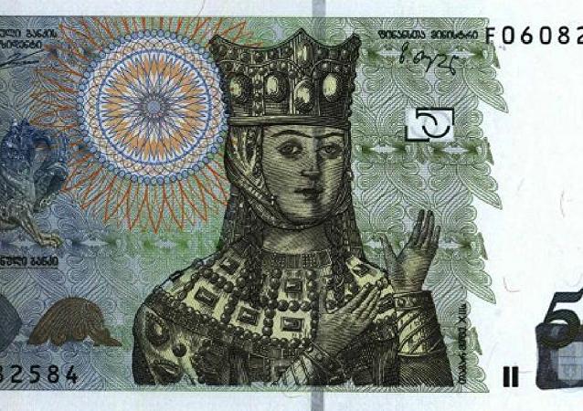 Cédula georgiana com imagem da rainha Tamara