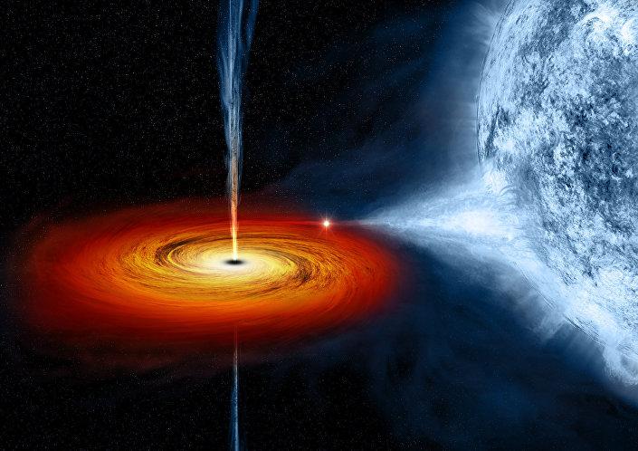Buraco negro que está arrastrando a matéria da estrela azul na visão de um artista (imagem referencial)