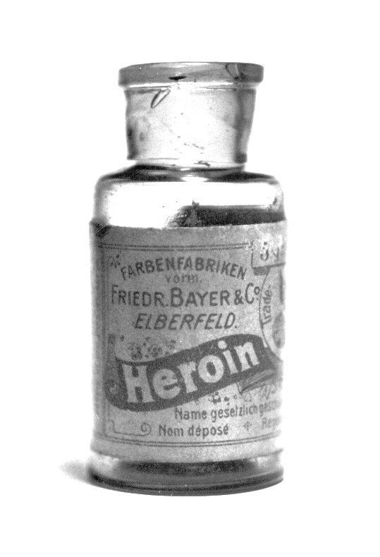 Frasco de heroína da Bayer.