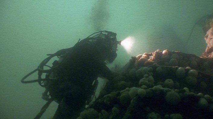 Destroços do submarino U-3523 encontrados no mar do Norte pelo Museu de Guerra Naval da Jutlândia, Dinamarca