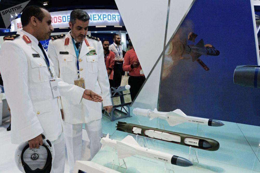Maquetas dos mísseis de cruzeiro antinavio da classe Exocet de produção francesa